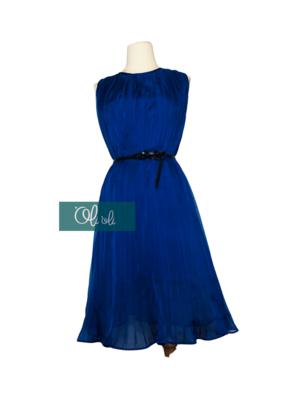 Váy xếp ly quạt màu xanh