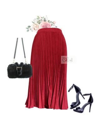 Chân váy xếp ly vải da lộn mẫu ngang gối