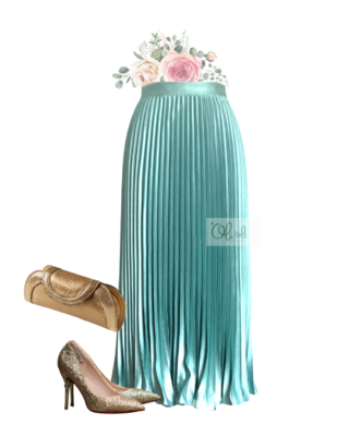 Chân váy xếp ly lụa satin mẫu ngang gối