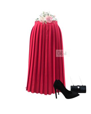 Chân váy xếp ly hộp vải lụa Nhật Lam mẫu midi
