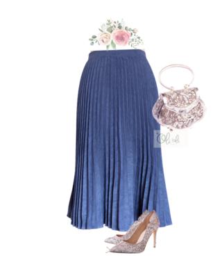 Chân váy xếp ly vải da lộn mẫu midi