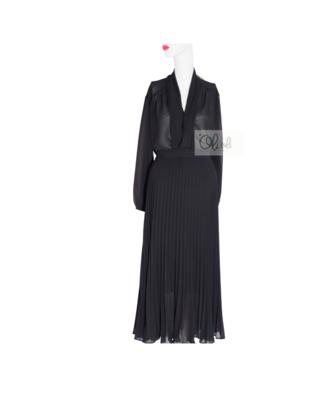 Bô chân váy maxi voan cát+ áo đen voan cát