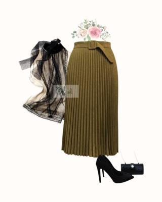 Chân váy xếp ly  dáng midi vải nhung kèm đai