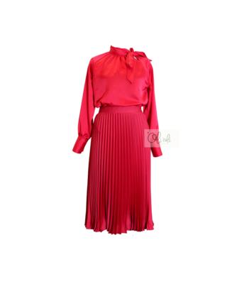 Bô chân váy midi satin+ áo đỏ satin