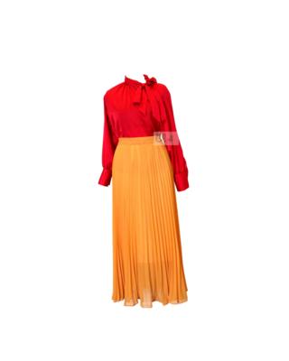 Bô chân váy maxi voan cát + áo đỏ satin