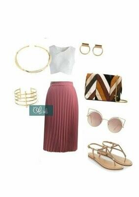 Chân váy xếp ly dẻ quạt ( mẫu ngang gối)