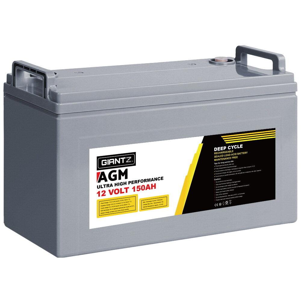 Giantz 150Ah Deep Cycle Battery 12V AGM Marine Sealed Power Portable Box Solar Caravan Camping