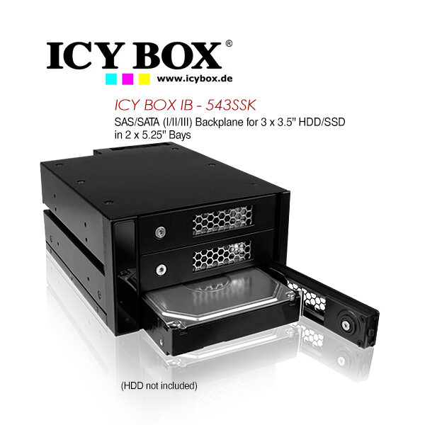 ICY BOX (IB - 543SSK) SAS/SATA (I/II/III) Backplane for 3 x 3.5 Inch HDD/SSD in 2 x 5.25 Inch Bays
