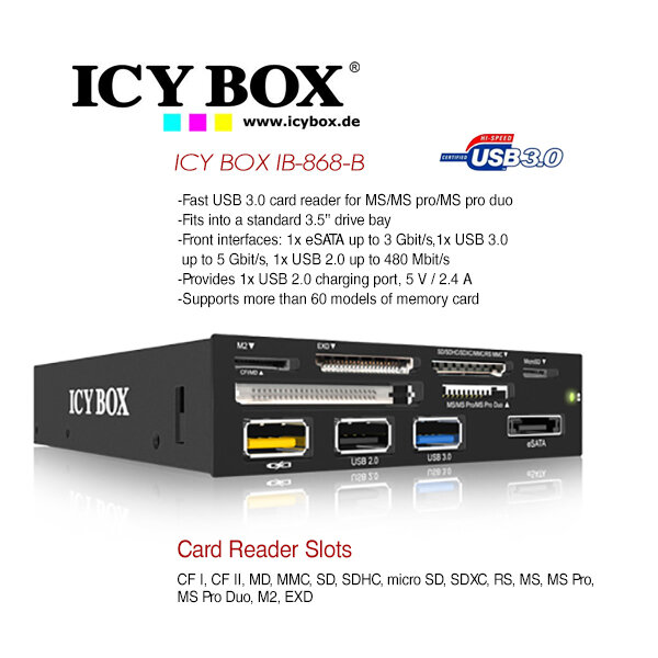 "ICY BOX 3.5"" USB 3.0 Multi Card Reader with USB charging port (IB-868-B)"