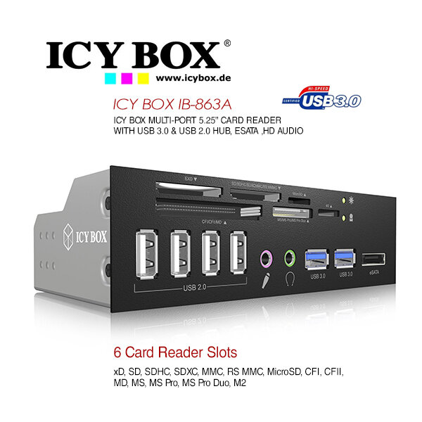 """ICY BOX 5.25"""" Card Reader with multiport front panel (IB-863a-B)"""