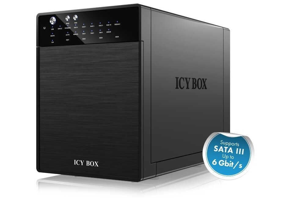 "ICY BOX External 4 bay RAID System for 3.5"" SATA I / II / III hard disks with USB 3.0 and eSATA (IB-RD3640SU3)"