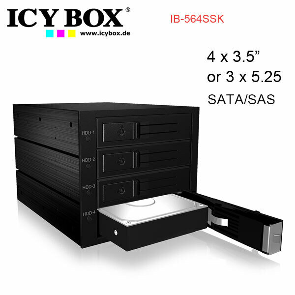 "ICY BOX IB-564SSK Backplane for 4x 3.5"" SATA or SAS HDD in 3x 5.25"" bay"