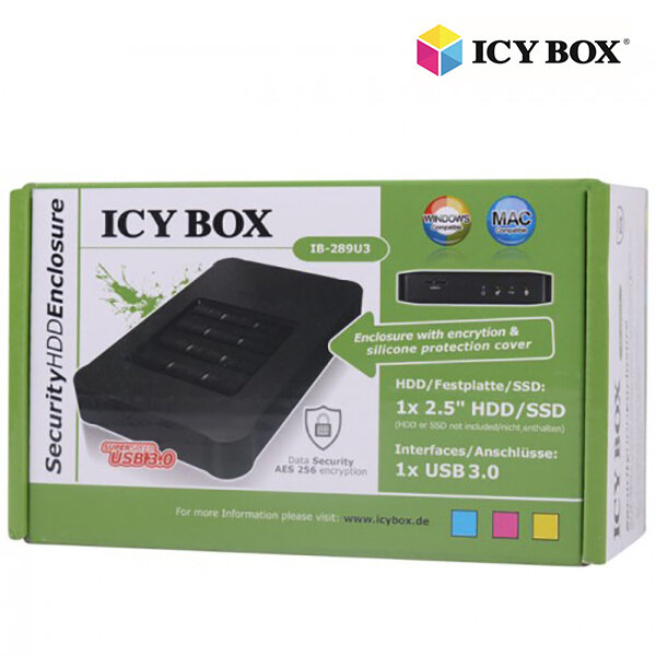 """ICY BOX USB 3.0 Keypad encrypted enclosure for 2.5"""" SATA SSD/HDD (IB-289U3)"""
