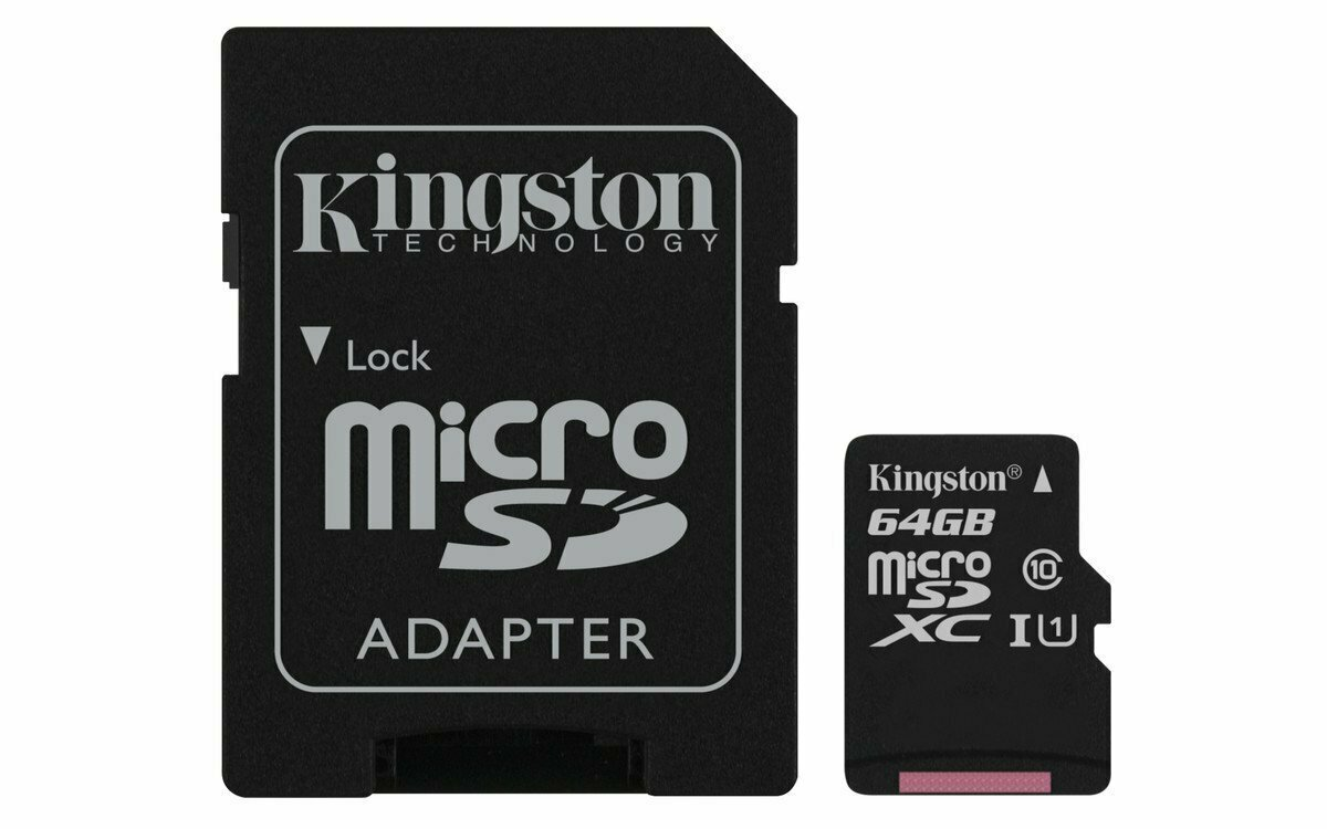 KINGSTON Canvas Select:MicroSD 64GB , 80MB/s read and 10MB/s write with SD adapter SDCS/64GB