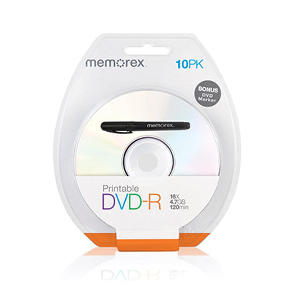 MEMOREX Printable White Top DVD-R 4.7G 16x 10PCs/Pack with Bonus Mark Pen