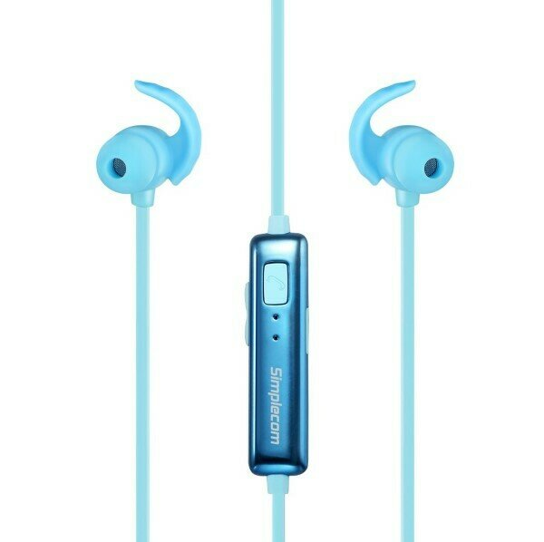 Simplecom BH310 Metal In-Ear Sports Bluetooth Stereo Headphones Blue