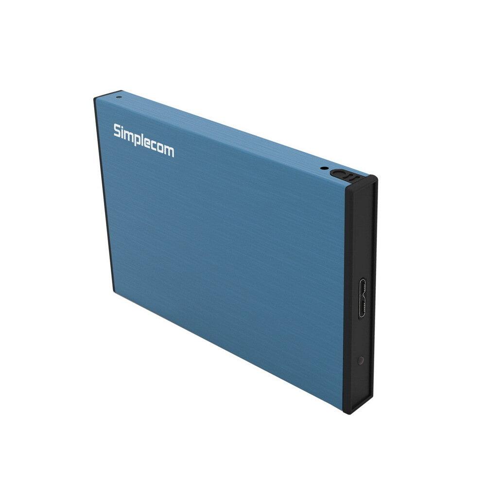 "Simplecom SE218 Aluminium Tool Free 2.5"" SATA HDD SSD to USB 3.0 Hard Drive Enclosure Blue"