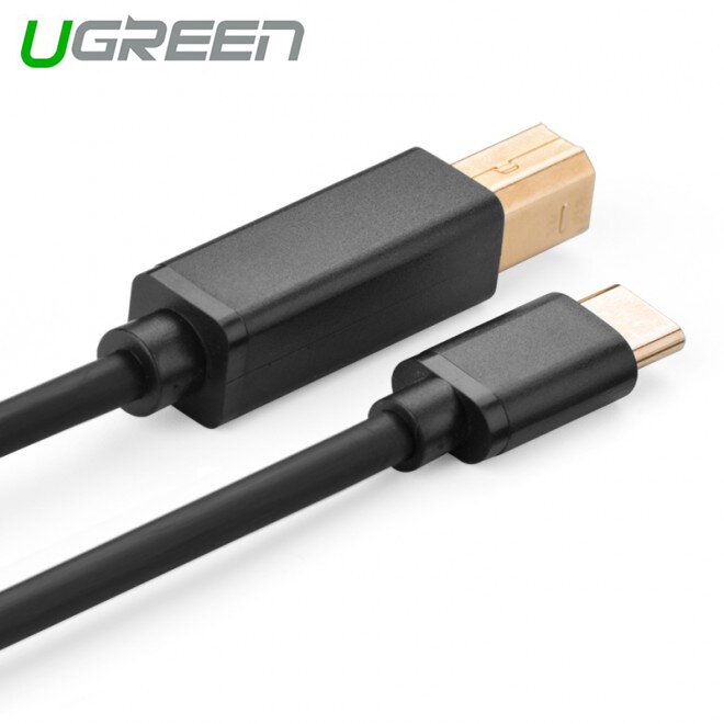 UGREEN USB Type C Male to USB 2.0 B Male Cable - Black 2M (30181)