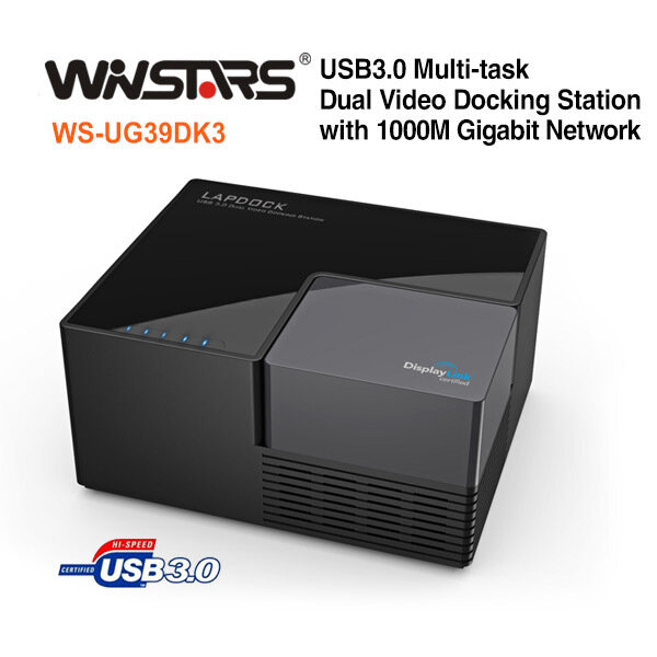 USB3.0 Multi-task Dual Video Docking Station with 1000M Gigabit Network
