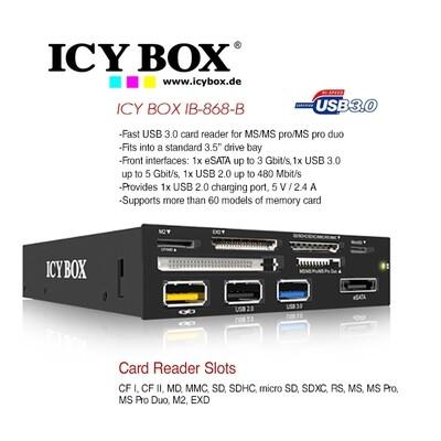 "ICY BOX 3.5"" USB 3.0 Multi Card Reader with USB charging port (IB-868-B)"