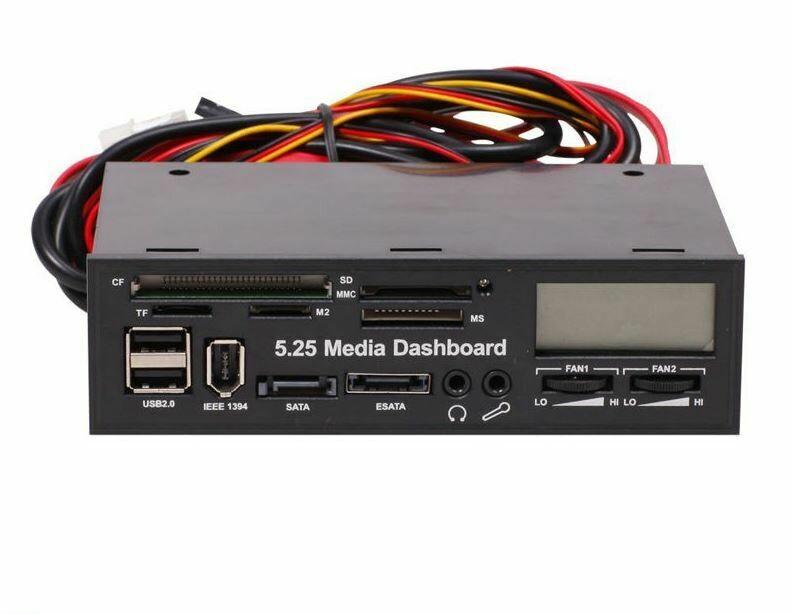 "RITMO 5.25"" Media Dashboard Multi-Function Front Panel I/O Ports LCD Display ESATA"
