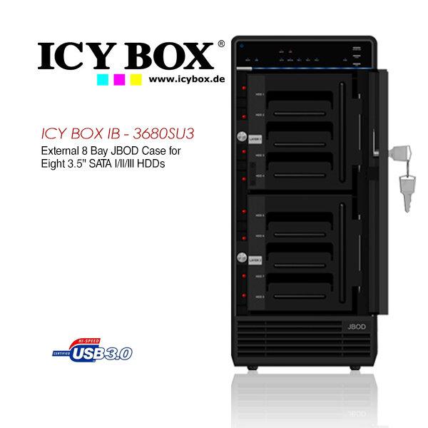"""ICY BOX External 8x JBOD enclosure for 8x 3.5"""" SATA I/II/III HDDs  (IB-3680SU3)"""