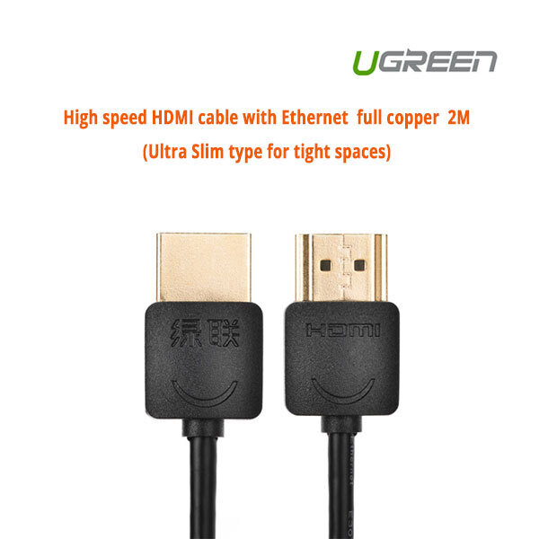 UGREEN High speed with Ethernet full copper Ultra Slim HDMI cable 2M (11199)