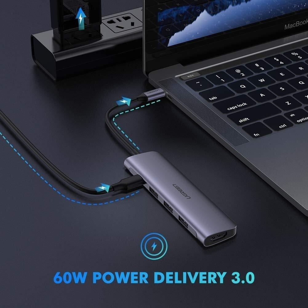 UGREEN TypeC 5 in 1 Adaptor - HDMI + USB 3.0*3 + TypeC PD Power Converter (50209)