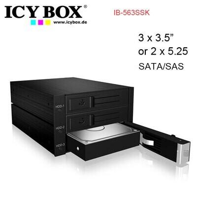"ICY BOX IB-563SSK Backplane for 3x 3.5"" SATA or SAS HDD in 2x 5.25"" bay"