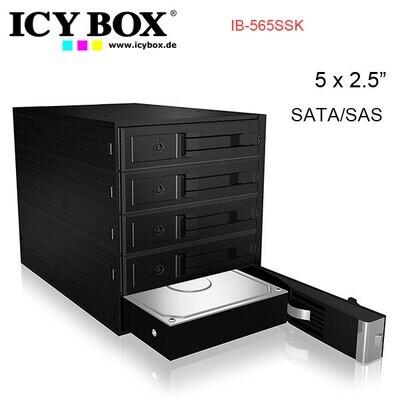 "ICY BOX Backplane for 5x 3.5"" SATA or SAS HDD in 3x 5.25"" bay (IB-565SSK)"