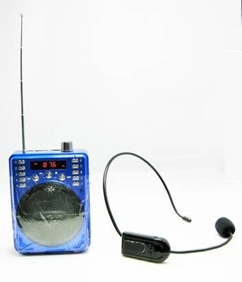 Portable Non-Bluetooth Voice Amplifier Includes Wireless FM Headset & Wired Headset (Blue)