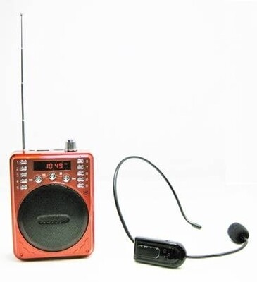 Portable Bluetooth Voice Amplifier Includes Wireless FM Headset & Wired Headset (Red)
