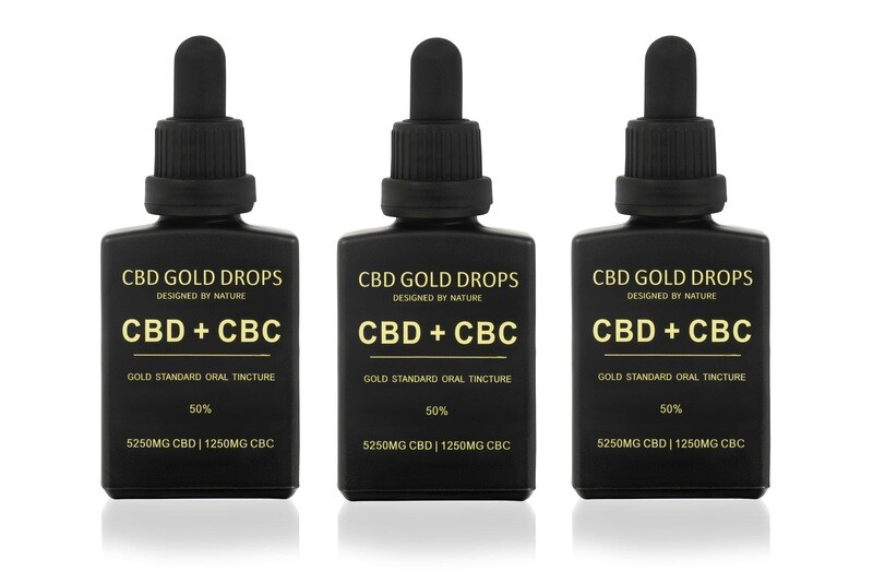 BUY 3 x HEMP GOLD DROPS 50% CBD 5250mg + CBC 1250mg 30ml