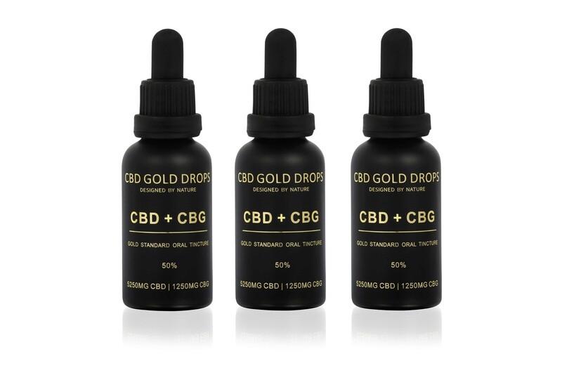 BUY 3 x HEMP GOLD DROPS 50% CBD 5250mg + CBG 1250mg 30ml
