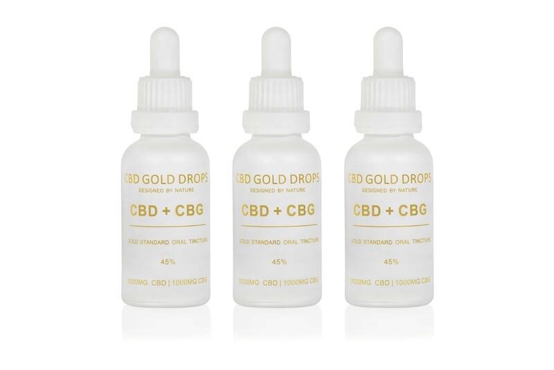 BUY 3 x HEMP GOLD DROPS 45% CBD 5000mg + CBG 1000mg 30ml