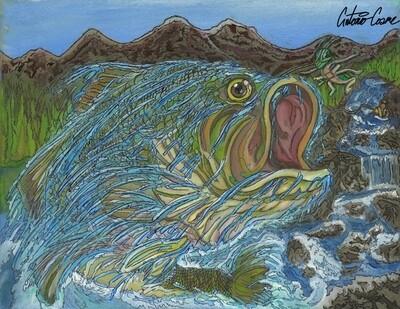 Bass Fish Fly Fishing laminated print