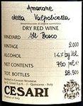 Cesari Amarone della Valpolicella Classico Il Bosco 2015 (750 ml)