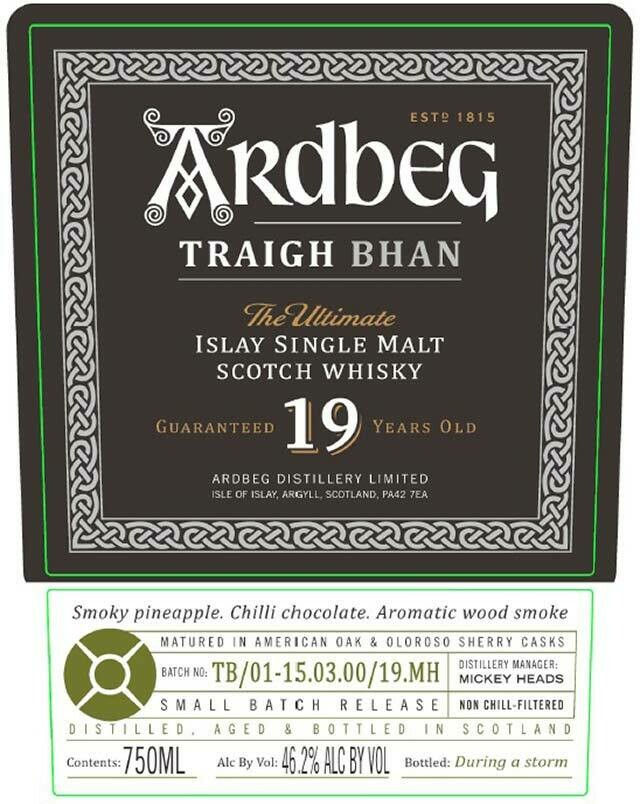 Ardbeg Traigh Bhan 19 Year Old Single Malt Scotch Whisky, Islay (750 ml)