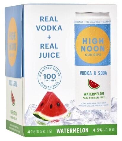 High Noon Watermelon Vodka Soda 4 pack