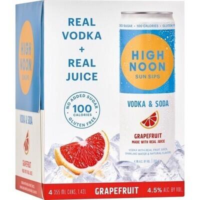 High Noon Grapefruit Vodka Soda 4 pack