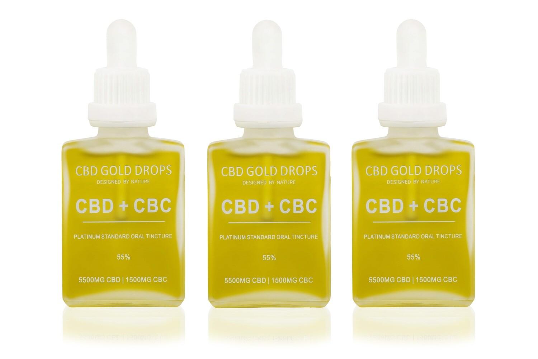 BUY 3 x CBD GOLD DROPS 55% CBD 5500mg + CBC 1500mg 30ml