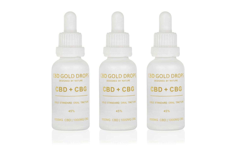 BUY 3 x CBD GOLD DROPS 45% CBD 5000mg + CBG 1000mg 30ml