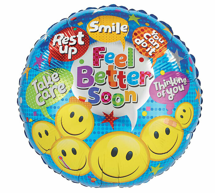 "17"" GET WELL SOON SMILEY FACE DOTS"