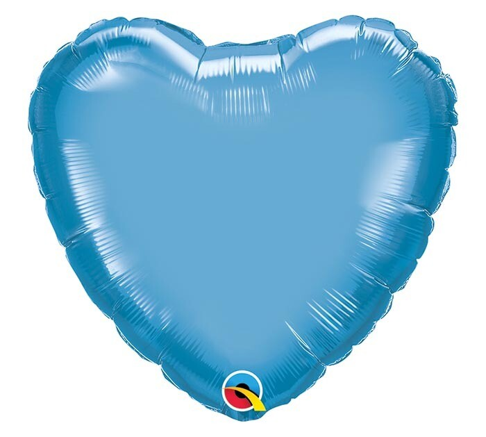 20 - CHROME SOLID HEART BLUE