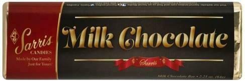 SARRIS CANDY MILK CHOCOLATE CANDY BAR