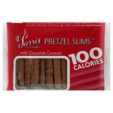 SARRIS CANDY MILK CHOCOLATE COVERED PRETZEL SLIMS 100 CALORIE