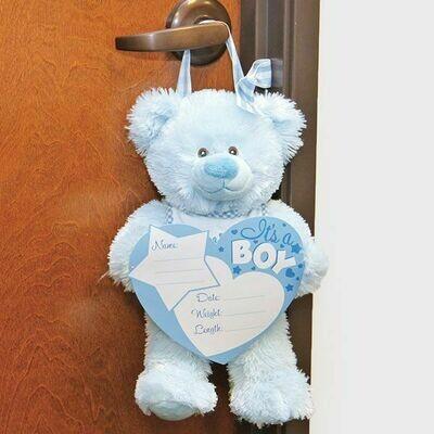 BIRTH ANNOUNCEMENT W/BEAR BOY