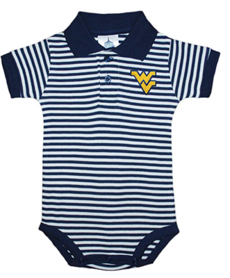 WV STRIPED POLO BODYSUIT 0-12 MONTH NAVY & WHITE 0-3 MONTH