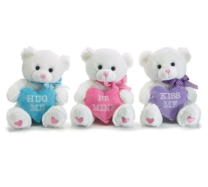 WHITE BEARS W/HEART PILLOW PLUSH