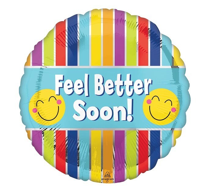 "17"" FEEL BETTER SOON STRIPE/SMILEY FACE"
